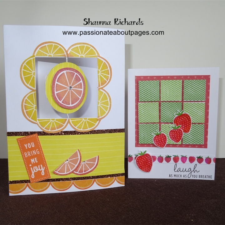 "Spin cards (Z1866) are available to purchase through my website.  They are 7"" x 5"" and come in packs of 10. The grid on the strawberry card was inspired by a fellow blogger, laurenctmhcraftings.blogspot.com.au.  It uses May's Stamp of the Month, Just Sayin' ."