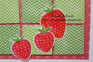 "The background grid was created with 1"" squares and Topiary & Pear ink.  I used Liquid Glass Z679 to make my strawberries shine."