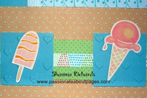 The hearts embossing folder Z3018 creates a bit of texture for these blocks of colour.  Once again the stamps were embossed with white and coloured with Shin Han markers and then fussy cut.