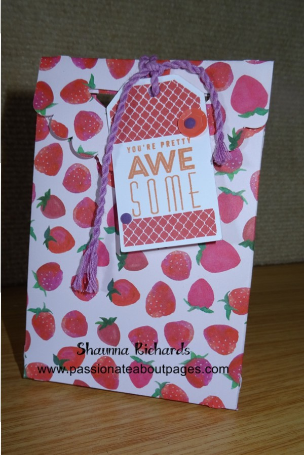 The fruity prints of the Taste of Summer papers (CC1038) are perfect for gift bags.  This one stands about 5