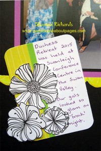 """My journaling box was a 3"""" x4"""" piece of white cardstock with a strip of scrap paper down the side and a strip of 1/4 Boardwalk Washi tape(Z3066).  The Wavy Blooms (D1651) flowers were stamped on white daisy and fusty cut."""