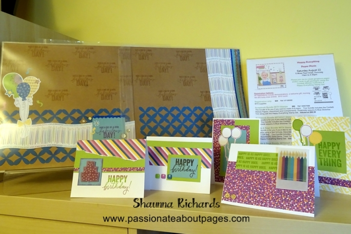 These are some of the pages and cards we'll be making at the August 22 Paper Picnic.