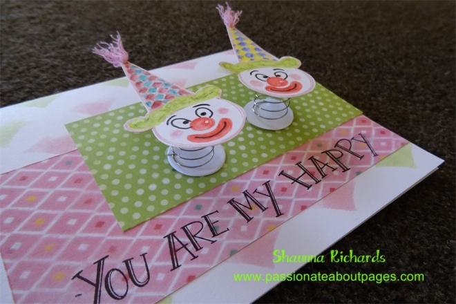 Adhesive Springs (Z1725) make these cuties wiggle.  Imagine the surprise the recipient of this card will get when they remove it from the envelope!   CTMH June 2015 SOTM,  Ice Cream Dreams S1507