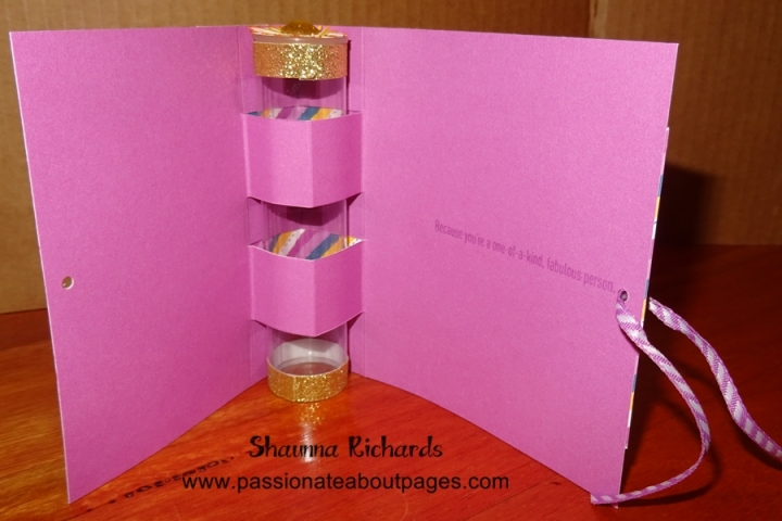 This is the inside of the card.  The Treat Tube is held in place and forms the spine of the card.