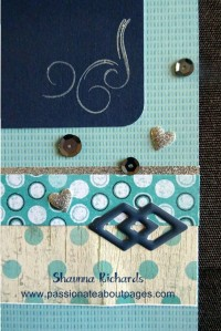 Sequins, Puffies and Enamel Shapes accent the papers and shimmer trim.