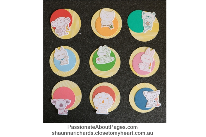 Layer CTMH Punny Pals on circles in random arrangements for a fun look. Order yours at www.shaunnarichards.ctmh.com.au