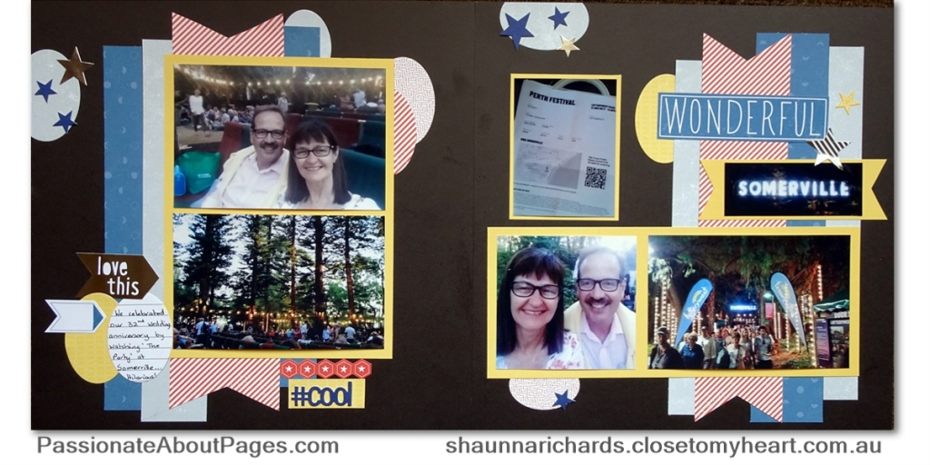 Stargazer papers and complements teamed with CTMH Thin Cuts make a fun movie night layout