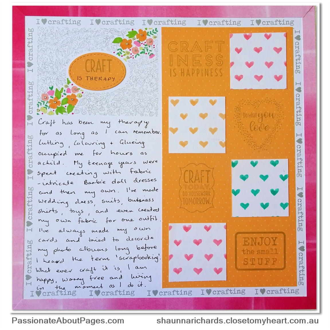 S1808 For the Love of Crafting stamp set is availalbe during August, 2018 only at www.shaunnarichards.closetomyheart.com.au. All crafters need this one in their stash.