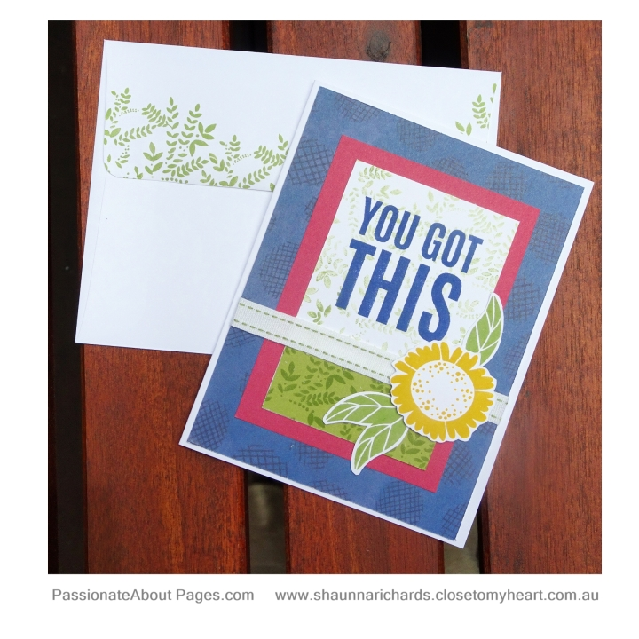 Create this card using G1166 You Got This WYW and S1811 Seasonal Trees. Available for purchase at www.shaunnarichards.closetomyheart.com.au
