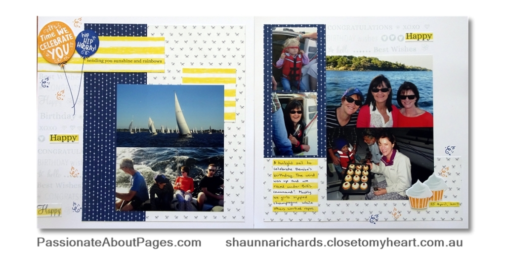 Create a fun birthday scrapbook layout using S1901 Card Captions - January 2019's Stamp of the Month from Close To My Heart. Order yours from www.shaunnarichards.ctmh.com.au