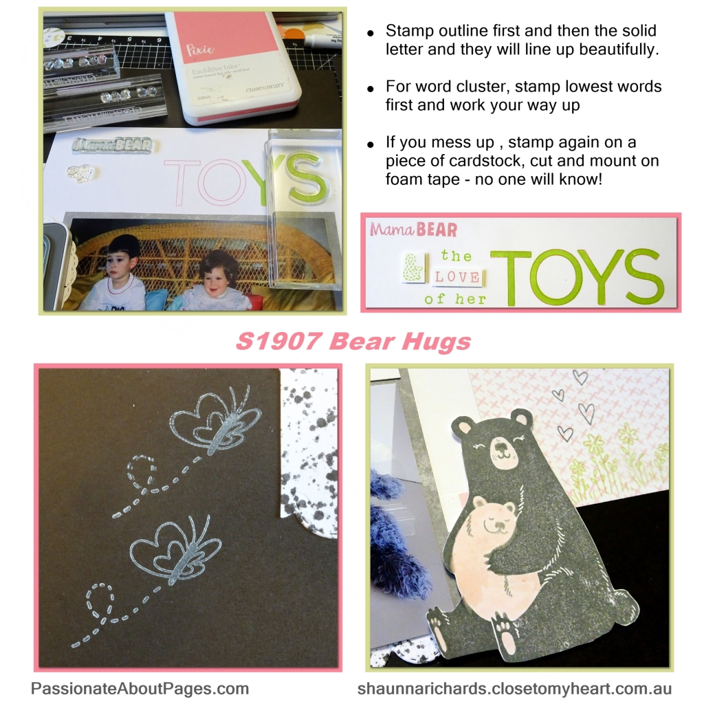 Tell your story using Bear Hugs (S1907) – July's 2019's Stamp of the Month from Close To My Heart. Perfect for scrapbookers and card makers. Order yours from www.shaunnarichards.ctmh.com.au during July 2019